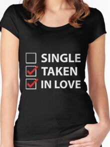 TAKEN IN LOVE CHECK Women's Fitted Scoop T-Shirt