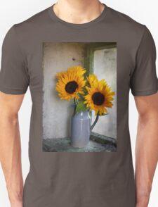 Sunflowers in a stone jar on a farmhouse window T-Shirt