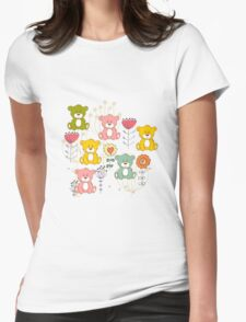 Cute bear and flowers 3  Womens Fitted T-Shirt