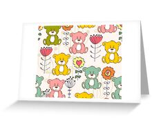 Cute bear and flowers 3  Greeting Card