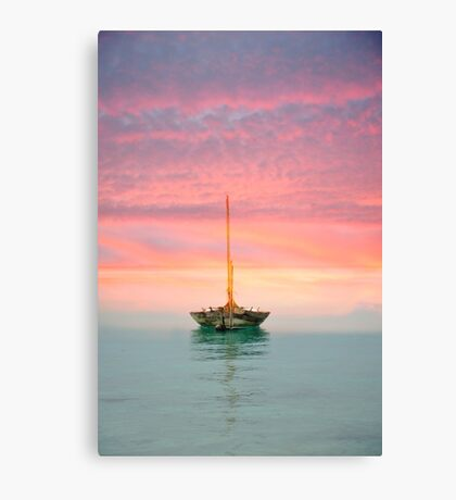 Boat in Sunset Canvas Print