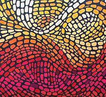Expanding Energy Mosaic Pillow by Kaz Innes