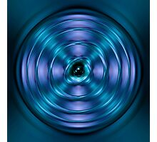 Blue spinning atom Photographic Print