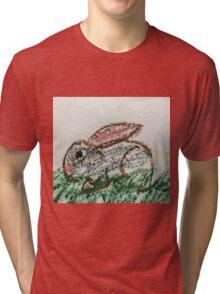 Little Bunny in Oil Pastels Tri-blend T-Shirt