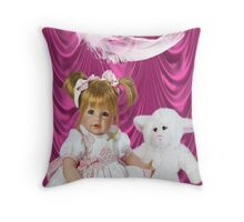 DOLL AND LAMB WITH A FEATHERS TOUCH-THROW PILLOW Throw Pillow