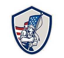 American Soldier Waving Stars Stripes Flag Shield by patrimonio