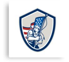 American Soldier Waving Stars Stripes Flag Shield Canvas Print