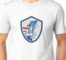 American Soldier Waving Stars Stripes Flag Shield Unisex T-Shirt