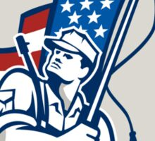 American Soldier Waving Stars Stripes Flag Shield Sticker