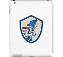 American Soldier Waving Stars Stripes Flag Shield iPad Case/Skin