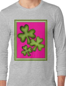 Pink and Green Clovers Long Sleeve T-Shirt