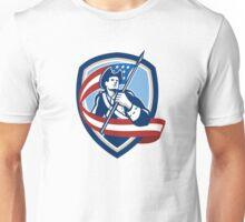 American Patriot Soldier Waving Flag Shield Unisex T-Shirt