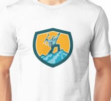 Mountain Climber Reaching Summit Retro Shield Unisex T-Shirt