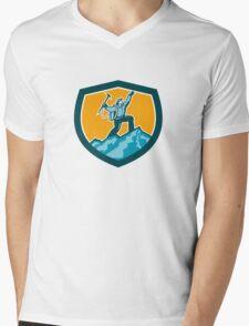 Mountain Climber Reaching Summit Retro Shield Mens V-Neck T-Shirt