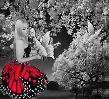 BUTTERFLY GIRL IN NATURE WITH BUTTERFLIES THROW PILLOW by ✿✿ Bonita ✿✿ ђєℓℓσ