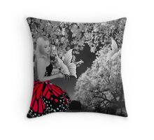 BUTTERFLY GIRL IN NATURE WITH BUTTERFLIES THROW PILLOW Throw Pillow
