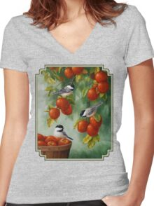 Bird Painting - Apple Harvest Chickadees Women's Fitted V-Neck T-Shirt