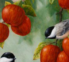 Bird Painting - Apple Harvest Chickadees Sticker