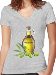 Extroversion Olive Oil Women's Fitted V-Neck T-Shirt