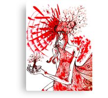 the tree gardener (red ink) Canvas Print