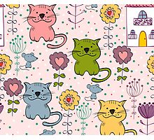 Cute cat and flowers  Photographic Print