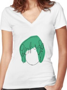 Ramona Flowers - Green Women's Fitted V-Neck T-Shirt