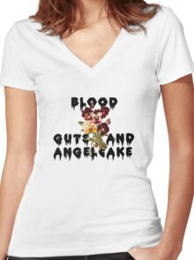 Blood Guts and Angelcake Women's Fitted V-Neck T-Shirt