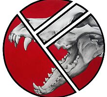Dire Wolf Skull, Red by BeanutPutter