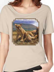 Double Trouble - African Lion Cub Painting Women's Relaxed Fit T-Shirt