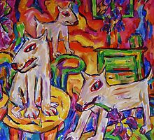 Dogs In Dutch Iris Room by Dianne Connolly