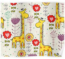 Cute giraffe and flowers  Poster