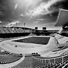 Olympic Stadium, Barcelona (B&W) by Stephen Knowles