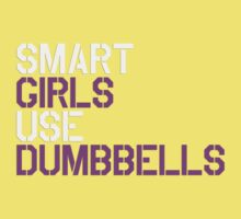 Smart Girls Use Dumbbells (wht/pnk) Kids Clothes