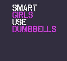 Smart Girls Use Dumbbells (wht/pnk) Womens Fitted T-Shirt