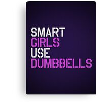 Smart Girls Use Dumbbells (wht/pnk) Canvas Print