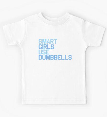 Smart Girls Use Dumbbells (blue) Kids Tee