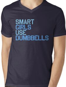 Smart Girls Use Dumbbells (blue) Mens V-Neck T-Shirt