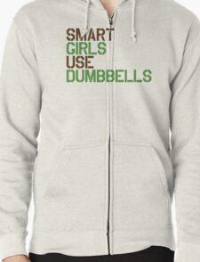 Smart Girls Use Dumbbells (brwn/grn) Zipped Hoodie