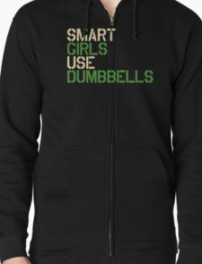 Smart Girls Use Dumbbells (crm/grn) Zipped Hoodie