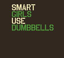 Smart Girls Use Dumbbells (crm/grn) Womens Fitted T-Shirt
