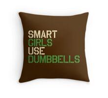 Smart Girls Use Dumbbells (crm/grn) Throw Pillow