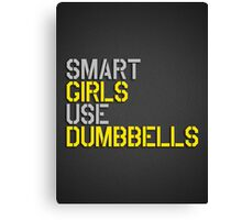 Smart Girls Use Dumbbells (yel/gry) Canvas Print