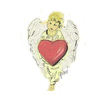 Pillow angel red heart by Go van Kampen