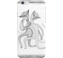 pencil drawing of a dancing cat couple iPhone Case/Skin