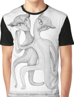 pencil drawing of a dancing cat couple Graphic T-Shirt
