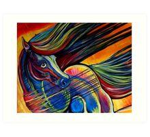 Sunset Mustang Horse Painting Colorful Artwork Art Print