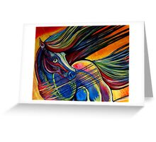 Sunset Mustang Horse Painting Colorful Artwork Greeting Card