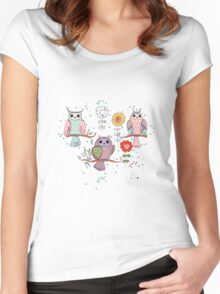 Cute owl and flowers 2  Women's Fitted Scoop T-Shirt