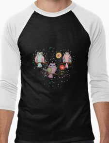 Cute owl and flowers 2  Men's Baseball ¾ T-Shirt
