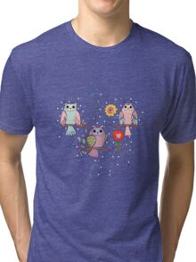 Cute owl and flowers 2  Tri-blend T-Shirt
